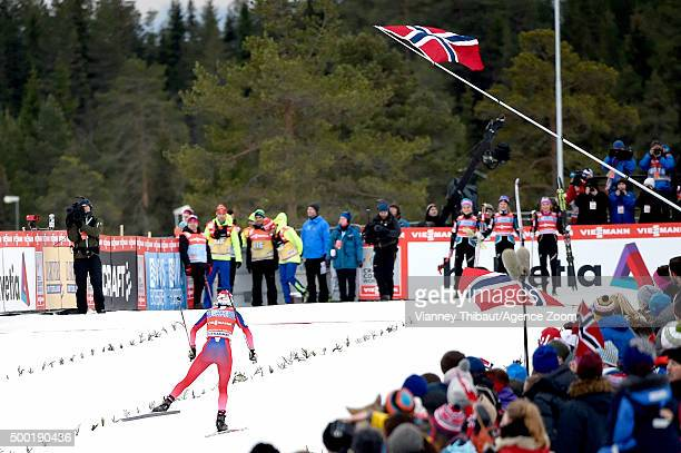 Heidi Weng of Norway takes 1st place during the FIS Nordic World Cup Men's and Women's Cross Country Relay on December 06 2015 in Lillehammer Norway