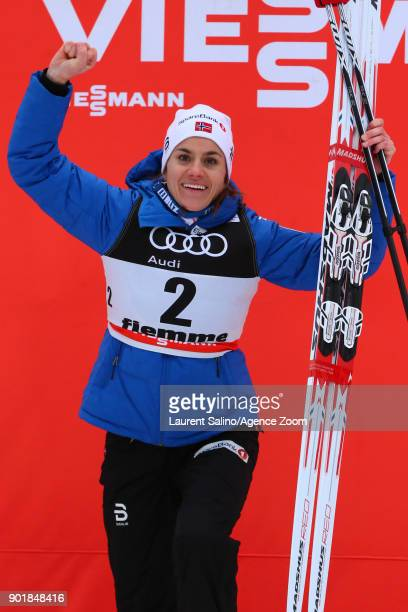 Heidi Weng of Norway takes 1st place during the FIS Nordic World Cup Women's CC 10 km C Mass Start Tour de ski on January 6 2018 in Val di Fiemme...