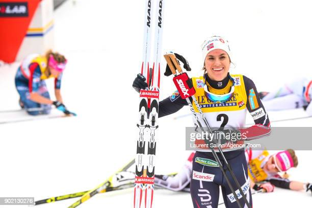 Heidi Weng of Norway takes 1st place during the FIS Nordic World Cup Women's CC 9 km F Tour de ski on January 7 2018 in Val di Fiemme Italy