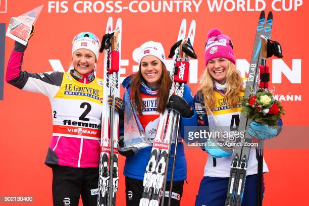 Heidi Weng of Norway takes 1st place Ingvild Flugstad Oestberg of Norway takes joint 2nd place Jessica Diggins of USA takes 3rd place during the FIS...