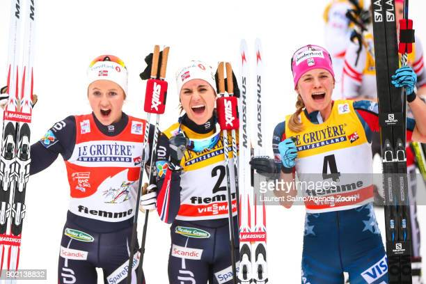 Heidi Weng of Norway takes 1st place Ingvild Flugstad Oestberg of Norway takes 2nd place Jessica Diggins of USA takes 3rd place during the FIS Nordic...