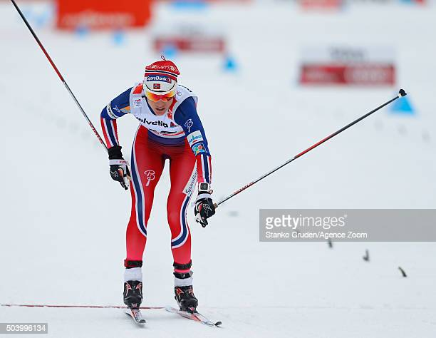 Heidi Weng of Norway takes 2nd place during the FIS Nordic World Cup Men's and Women's Cross Country Tour de Ski on January 8 2016 in Toblach...