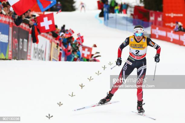 Heidi Weng of Norway takes joint 1st place during the FIS Nordic World Cup Women's CC 9 km F Tour de ski on January 7 2018 in Val di Fiemme Italy