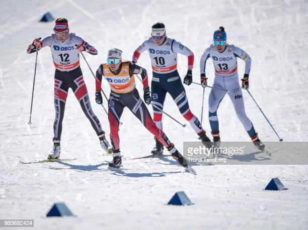 Heidi Weng, Tiril Udnes Weng of Norway during Ladies 10.0 km Pursuit Free at Lugnet Stadium on March 18, 2018 in Falun, Sweden.
