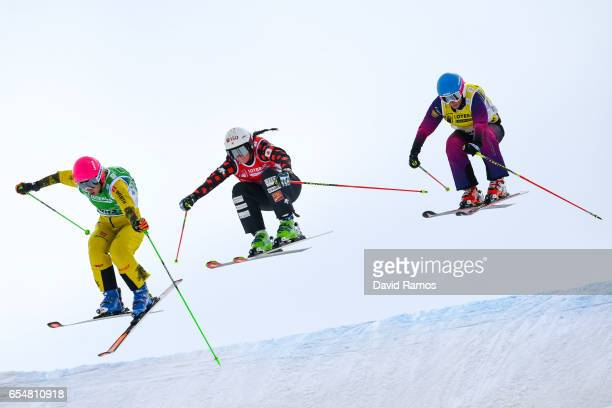 Heidi Zacher of Germany Marielle Thompson of Canada and Nikol Kucerova of Czech Republic compete in the Women's Ski Cross quarterfinal round on day...