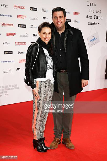 Heidrun Buchmaier and Bastian Pastewka attend the World premiere of Stromberg Der Film at Cinedom Koeln on February 18 2014 in Cologne Germany