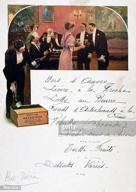 Heidsieck Champagne advertisement on a menu, 19th century.