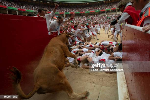 A heifer jumps over revellers in the bullring during the second day of the San Fermin Running of the Bulls festival on July 07 2019 in Pamplona Spain...