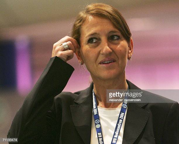 Heike Dahl assistent of the German Team Manager Oliver Bierhoff looks on after the press conference of German National Football Team on June 6 2006...