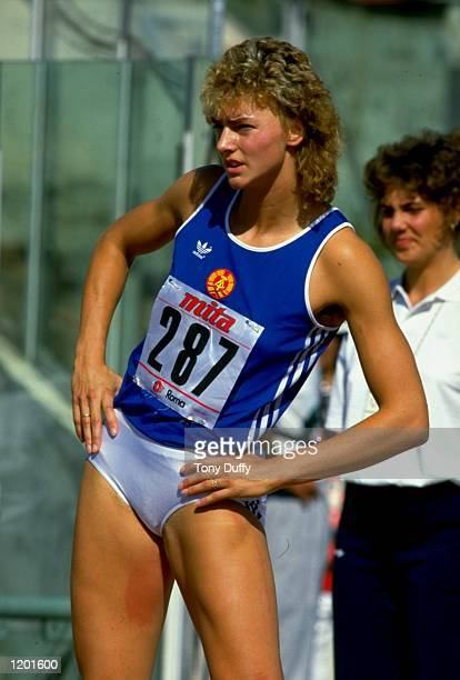 Heike Drechsler of East Germany limbers up during the World Championships at the Olympic Stadium in Rome Mandatory Credit Tony Duffy/Allsport