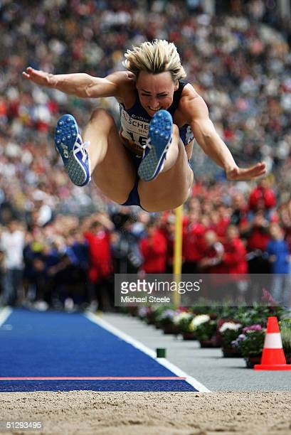 Heike Drechsler of Germany in action during the Long Jump at the IAAF Golden League Meet in the Olympic Stadium, on September 12, 2004 in Berlin,...