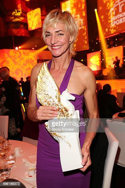 Heike Drechsler with Meissen Pegasos Award during the German Sports Media Ball at Alte Oper on November 7 2015 in Frankfurt am Main Germany