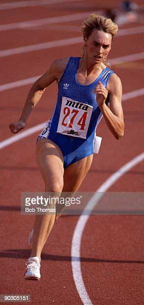 Heike Dreschler of East Germany silver medallist running in the women's 200m at the 15th European Athletics Championships held in Split Yugoslavia...