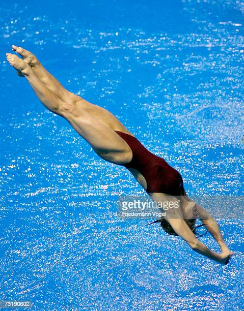Heike Fischer in action during the German Championships womens 3 Metres springboard competition at the Springhalle Europapark on February 3 2007 in...
