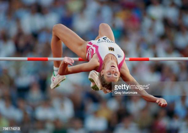 Heike Henkel of Germany clears the bar during the Women's High Jump event at the IAAF World Athletic Championships on 31 August 1991 at the Olympic...
