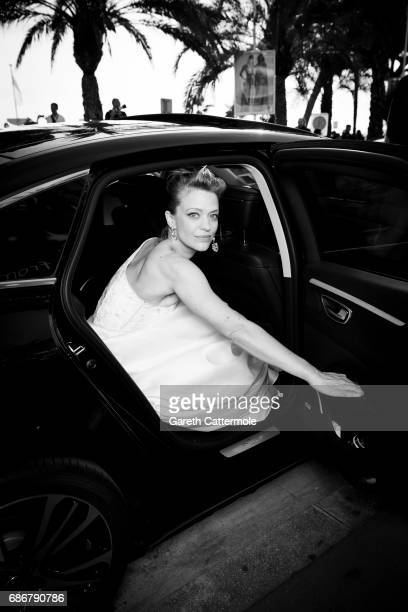 Heike Makatash departs the Martinez Hotel on May 21 2017 in Cannes France