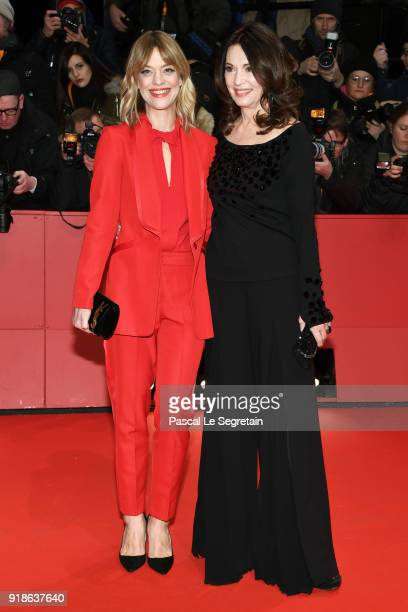 Heike Makatsch and Iris Berben attend the Opening Ceremony 'Isle of Dogs' premiere during the 68th Berlinale International Film Festival Berlin at...