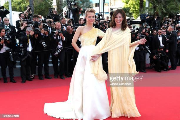 Heike Makatsch and Iris Berben attend the The Meyerowitz Stories screening during the 70th annual Cannes Film Festival at Palais des Festivals on May...