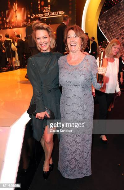 Heike Makatsch and Monika Schindler pose after the Lola German Film Award show at Messe Berlin on April 28 2017 in Berlin Germany
