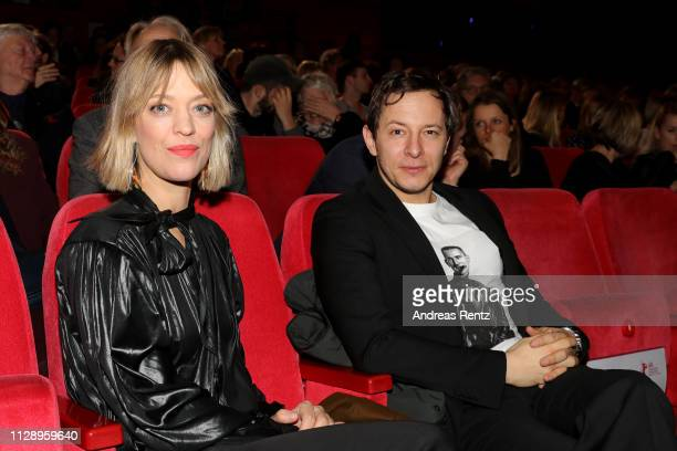 """Heike Makatsch and Trystan Pütter pose at the European Shooting Stars 2019 ceremony and """"Vice"""" premiere during the 69th Berlinale International Film..."""