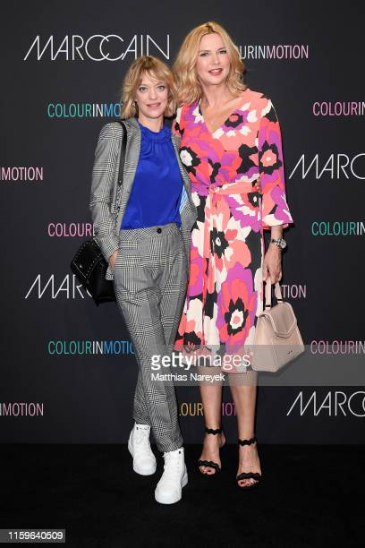 Heike Makatsch and Veronica Ferres at the Marc Cain fashion show during the Berlin Fashion Week Spring/Summer 2020 at Velodrom on July 02, 2019 in...