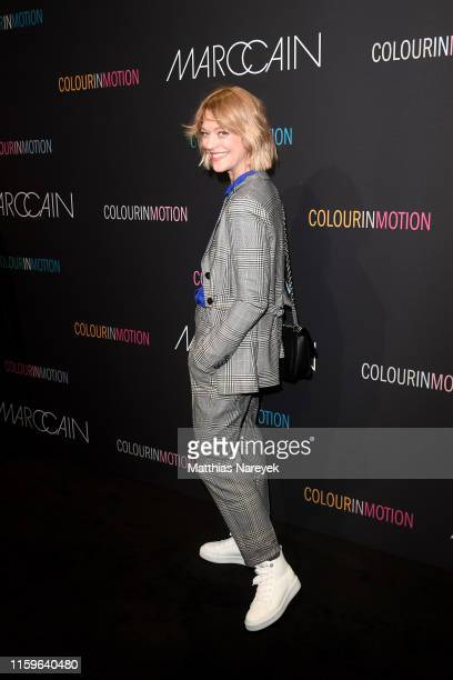 Heike Makatsch at the Marc Cain fashion show during the Berlin Fashion Week Spring/Summer 2020 at Velodrom on July 02, 2019 in Berlin, Germany.