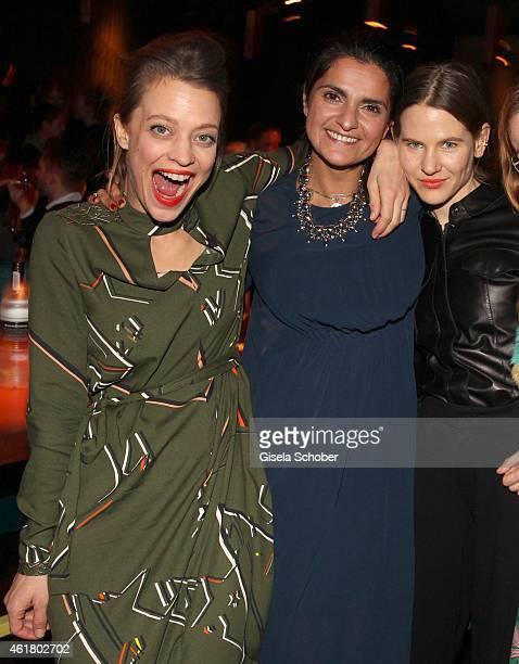 Heike Makatsch, designer Leyla Piedayesh and Aino Laberenz attend the LaLa Berlin Dinner with Cinderella during the Mercedes-Benz Fashion Week Berlin...