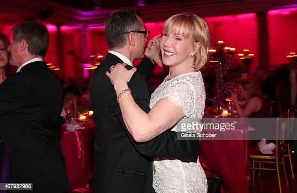 Heike Maurer and her boyfriend Ralf Immel during the Spring Ball Frankfurt 2015 at Palmengarten on March 28 2015 in Frankfurt am Main Germany