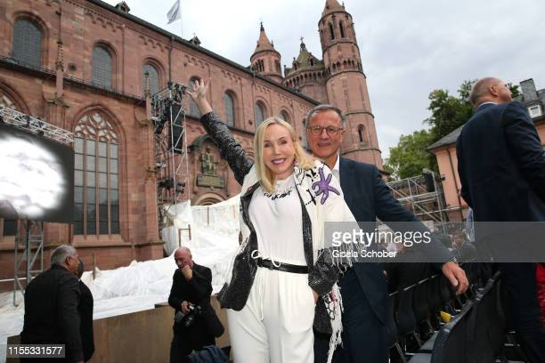 Heike Maurer and her husband Ralf Immel during the opening of the Nibelungen Theatre Festival at St Peter's Cathedral on July 12 2019 in Worms...