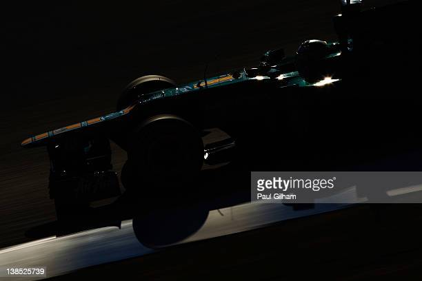 Heikki Kovalainen of Finland and Caterham drives during day two of Formula One winter testing at the Circuito de Jerez on February 8, 2012 in Jerez...