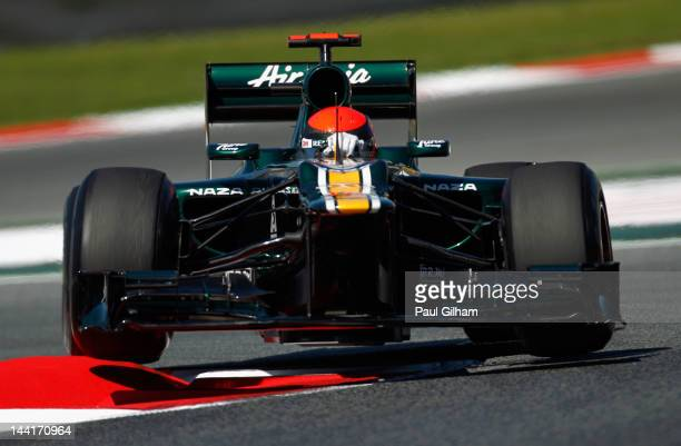 Heikki Kovalainen of Finland and Caterham drives during practice for the Spanish Formula One Grand Prix at the Circuit de Catalunya on May 11, 2012...