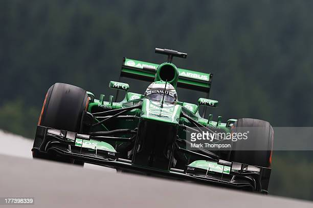Heikki Kovalainen of Finland and Caterham drives during practice for the Belgian Grand Prix at Circuit de Spa-Francorchamps on August 23, 2013 in...