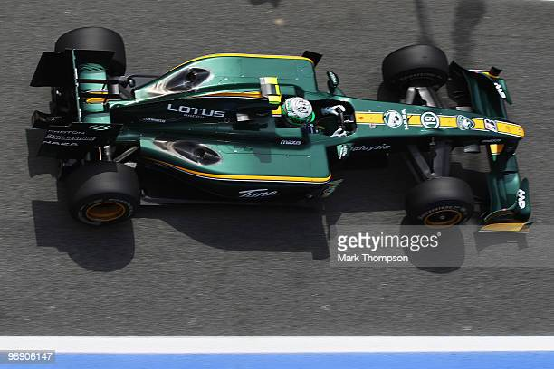Heikki Kovalainen of Finland and Lotus drives during practice for the Spanish Formula One Grand Prix at the Circuit de Catalunya on May 7, 2010 in...
