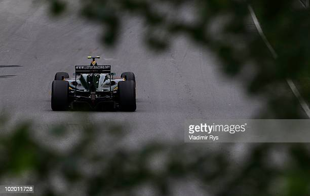 Heikki Kovalainen of Finland and Lotus drives during the final practice session prior to qualifying for the Canadian Formula One Grand Prix at the...
