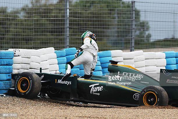 Heikki Kovalainen of Finland and Lotus goes off into the tyre wall during winter testing at the Circuito De Jerez on February 18 2010 in Jerez de la...