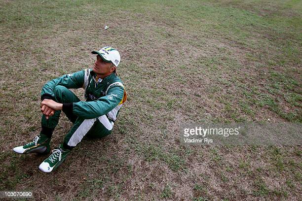 Heikki Kovalainen of Finland and Lotus is seen following qualifying for the German Grand Prix at Hockenheimring on July 24, 2010 in Hockenheim,...