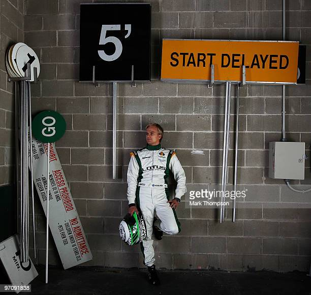 Heikki Kovalainen of Finland and Lotus poses for a photograph during Formula One winter testing at the Circuit De Catalunya on February 26, 2010 in...