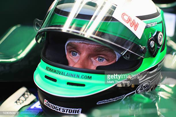 Heikki Kovalainen of Finland and Lotus prepares to drive during practice for the German Grand Prix at Hockenheimring on July 23, 2010 in Hockenheim,...
