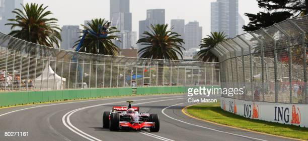 Heikki Kovalainen of Finland and McLaren Mercedes drives during the warm up session prior to qualifying for the Australian Formula One Grand Prix at...