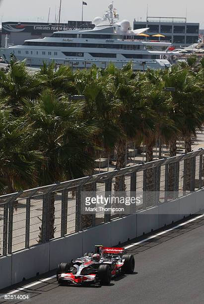 Heikki Kovalainen of Finland and McLaren Mercedes in action during practice for the European Formula One Grand Prix at the Valencia Street Circuit on...