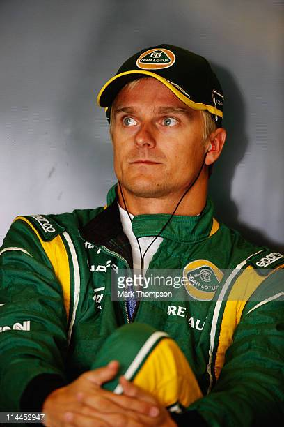 Heikki Kovalainen of Finland and Team Lotus prepares to drive during practice for the Spanish Formula One Grand Prix at the Circuit de Catalunya on...