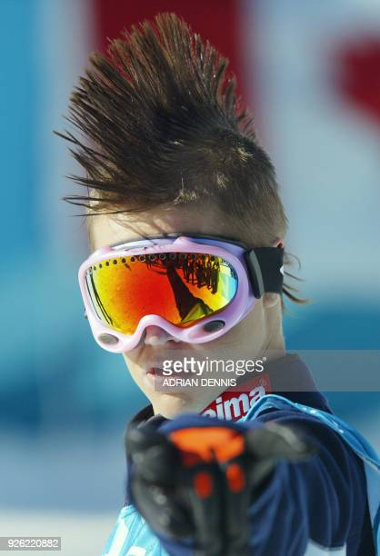 Heikki Sorsa of Finaland points to the crowd after his final run in the halfpipe snowboarding competition at the XIX Winter Olympic Games 11 February...