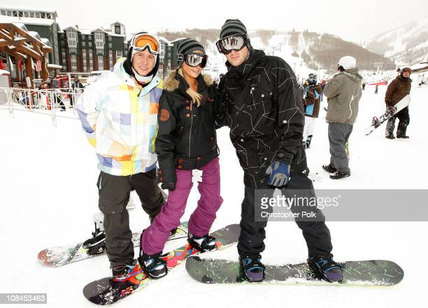 Heikki Sorsa Paris Hilton and Doug Reinhardt attend Oakley 'Learn To Ride' Snowboard fueled by Muscle Milk at Oakley Lodge on January 23 2010 in Park...