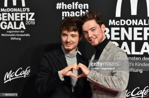 Heiko and Roman Lochmann music and comedy duo Die Lochis attend the Golden Society Family Friends Charity Gala by McDonald's at Hotel Bayerischer Hof...