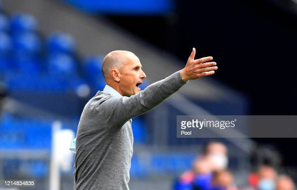 Heiko Herrlich, Head Coach of Augsburg reacts during the Bundesliga match between FC Schalke 04 and FC Augsburg at Veltins-Arena on May 24, 2020 in...