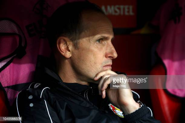 Heiko Herrlich head coach of Bayer 04 Leverkusen looks on prior to the UEFA Europa League Group A match between Bayer 04 Leverkusen and AEK Larnaca...