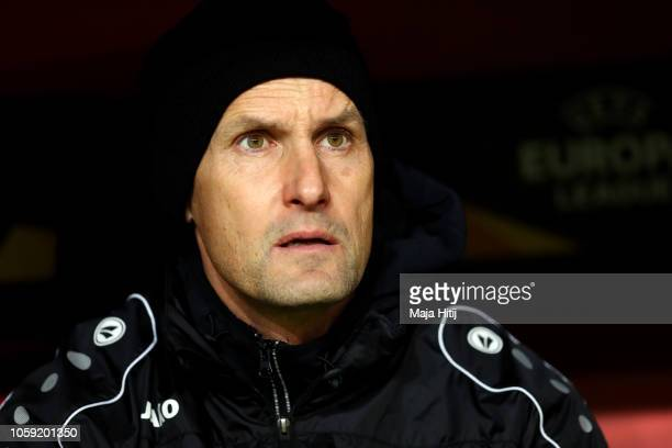 Heiko Herrlich head coach of Bayer 04 Leverkusen looks on prior to the UEFA Europa League Group A match between Bayer 04 Leverkusen and FC Zurich at...