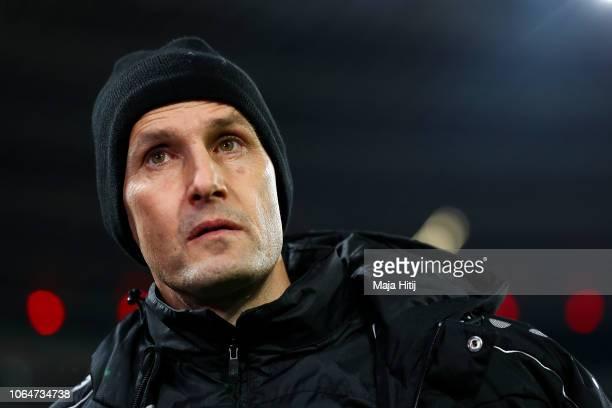 Heiko Herrlich, head coach of Bayer 04 Leverkusen looks on prior to the Bundesliga match between Bayer 04 Leverkusen and VfB Stuttgart at BayArena on...
