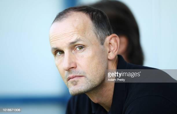 Heiko Herrlich head coach of Bayer Leverkusen during the DFB Cup match between 1. CfR Pforzheim and Bayer Leverkusen on August 18, 2018 in Pforzheim,...