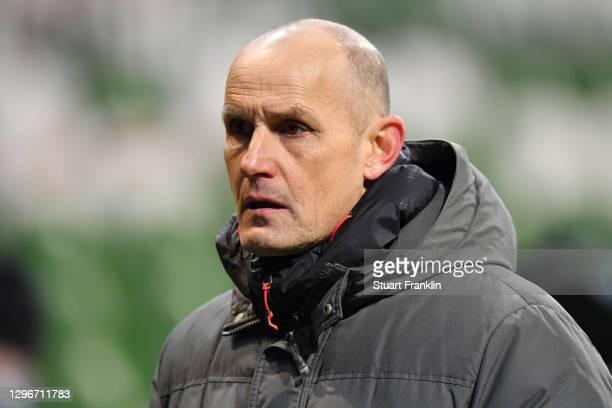 Heiko Herrlich, Head Coach of FC Augsburg looks on after the Bundesliga match between SV Werder Bremen and FC Augsburg at Wohninvest Weserstadion on...